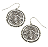 Silver circle bee earrings on a wire