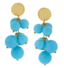 Gold & Aqua Multi Ball Earrings