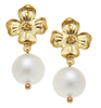 24K gold plate flower and cotton pearl post earring