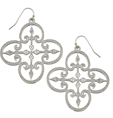 Women's silver filigree clover dangle earrings