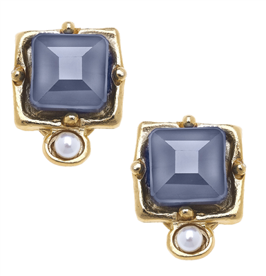 24K gold plate labradorite crystal stud with freshwater pearl
