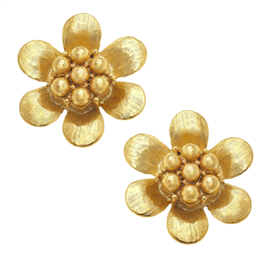 24K gold plate flower with beaded center post earring