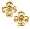 24K gold plate petal flower post earring