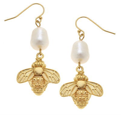 Gold Bee and pearl Earrings from Susan Shaw