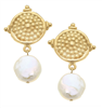 Gold Dotted Top with Pearl Earrings