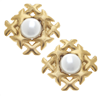 Gold X's & Pearl Clip Earrings from Susan Shaw