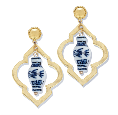 Women's Open Gold Earring with Porcelain