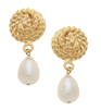 Women's pearl & gold clip earrings