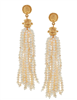 Multi stands of tiny freshwater pearls on a gold cabochon that measure 3.5 inches long that form a tassel earring