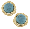 Ladies Gold & Turquoise Clip Earrings
