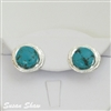 Silver & Turquoise Clip Earrings from Susan Shaw