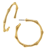 Ladies 24K gold plate bamboo hoop earrings