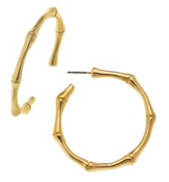 24K gold plate bamboo hoop earrings