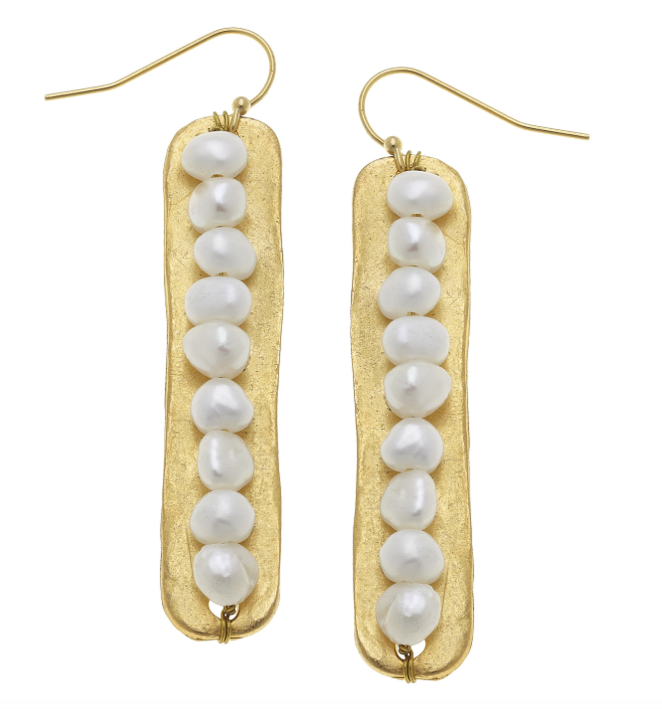 Gold Bar With Small Freshwater Pearls On A Wire