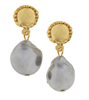 24K gold plate and grey baroque pearl post earring