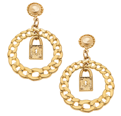 Women's gold circle locket dangle earrings