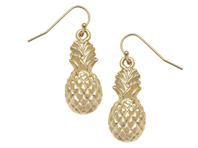 Gold Pineapple Earring on a gold wire