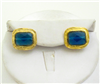 Gold & Blue Quartz rectangular Clip Earrings