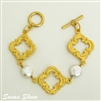 Gold Quatrefoil Bracelet with Pearls and toggle closure