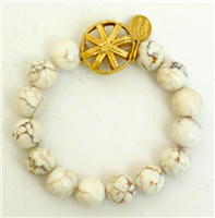 24K hand cast gold plate tribal bead on white turquoise stretch bracelet