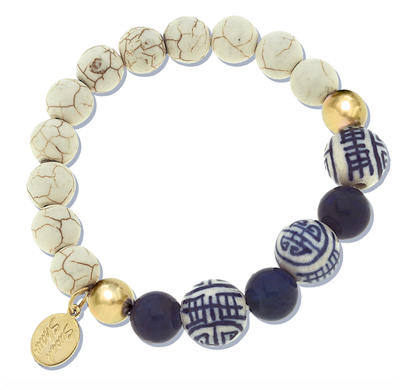 Ladies White Turquoise and Lapis Stretch Bracelet with hand painted blue and white porcelain ball