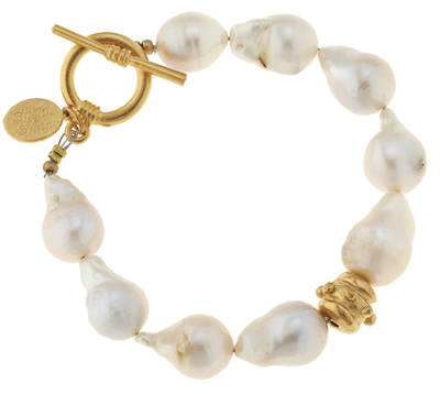 ladies white baroque pearl bracelet