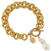 Gold Double Chain Bracelet with toggle closure with a pearl accent