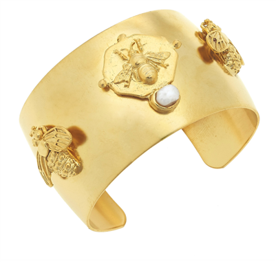 ladies gold cuff bracelet with bees and pearls
