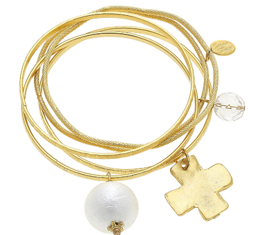 5 gold bangles with pearl and cross