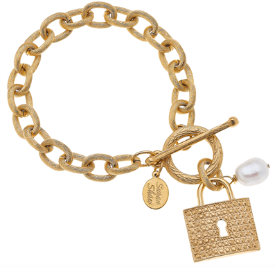 Ladies Gold Lock Bracelet with toggle closure.