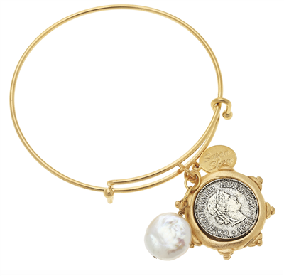 Susan Shaw Gold Bangle French Franc & Pearl