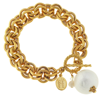 Gold Double Chain Bracelet with toggle closure with a cotton pearl accent