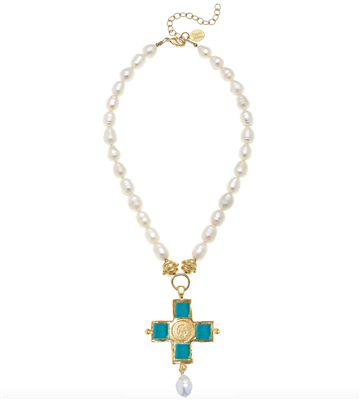 Ladies Freshwater Pearl Necklace with Teal Glass on a Gold Cross