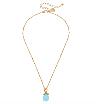 Women's Gold chain Necklace with aqua quartz pendant