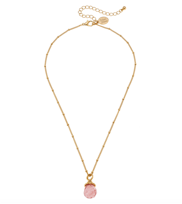 Women's Gold chain Necklace with cherry quartz pendant