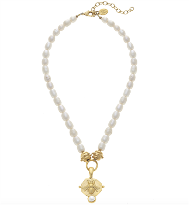 Pearl Necklace with gold bee pendant from Susan Shaw