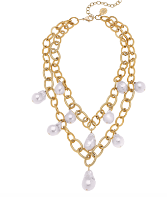 Ladies double gold chain necklace with freshwater pearls