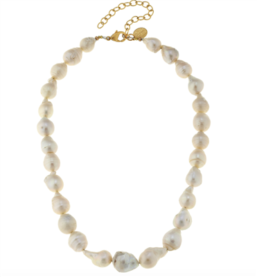 14K Goldplate 16 inch chain necklace of white baroque pearls