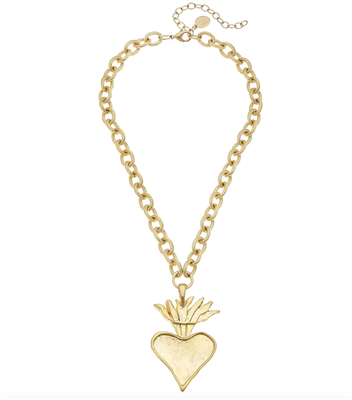 Ladies short chain with Gold Heart Necklace