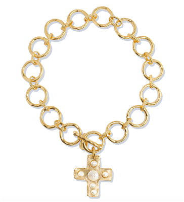 Ladies gold chain pearl necklace with gold cross with freshwater pearl