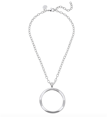 Ladies handcast short Silver CircleNecklace