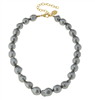 14K Goldplate 16 inch chain necklace with grey baroque pearls
