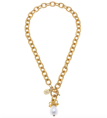 14K Goldplate 16 inch chain necklace with a cotton pearl and a toggle closure