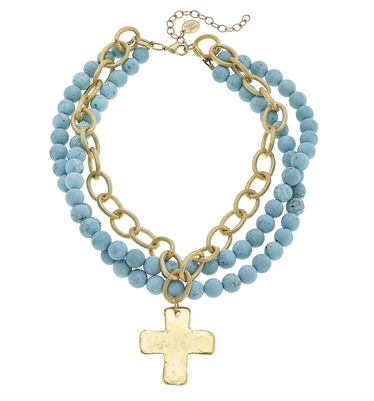 Ladies 3 Strand Necklace with Turquoise and Gold Cross