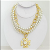 3 Strand Pearl Necklace with gold hardware and a Maltese Cross from Susan Shaw