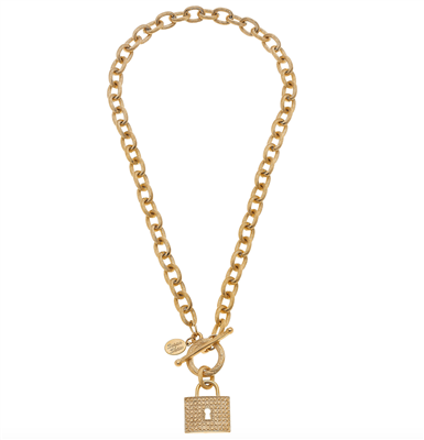 Ladies Gold Toggle Locket Necklace