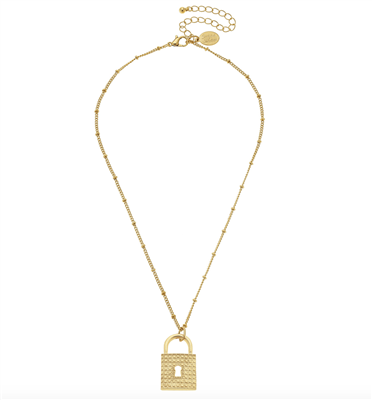 Women's Gold chain Necklace with lock pendant