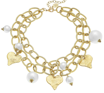 Pearl Necklace and gold heart necklace