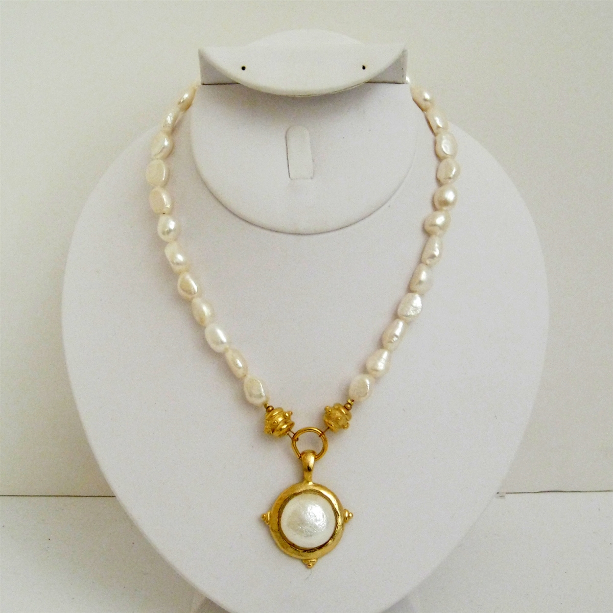 Oval Cotton Pearl Necklace With Cross From Susan Shaw
