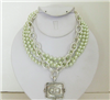 3 Strand Pearl Necklace with silver bee pendant